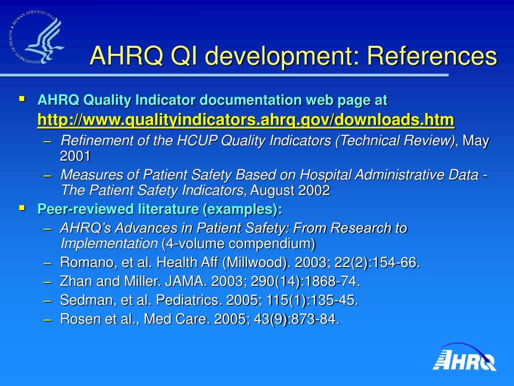 AHRQ QI development: References