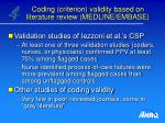 coding criterion validity based on literature review medline embase