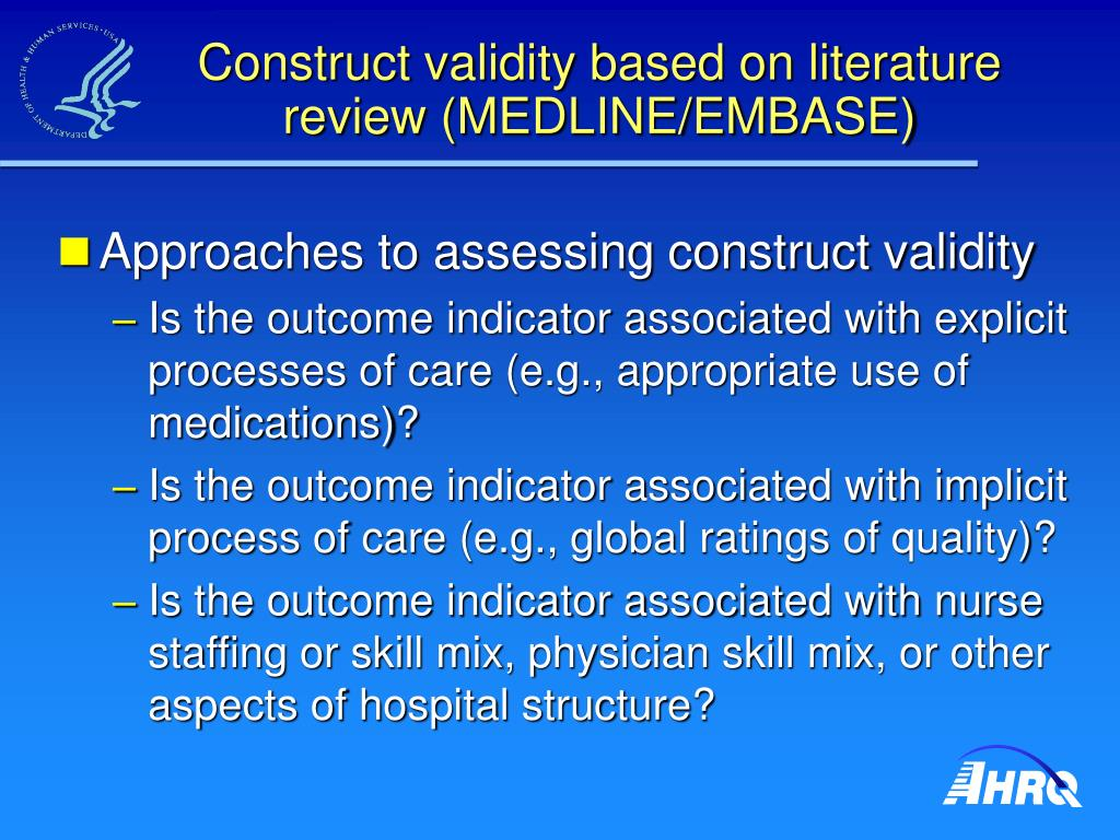 Construct validity based on literature review (MEDLINE/EMBASE)