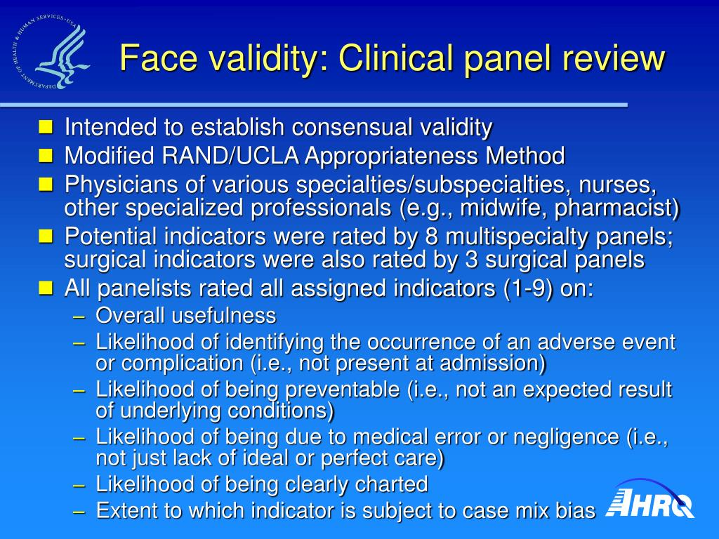 Face validity: Clinical panel review