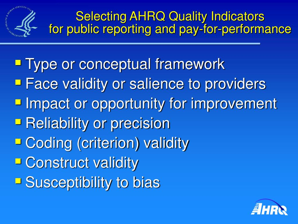 Selecting AHRQ Quality Indicators