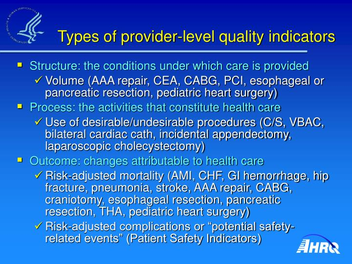 Types of provider level quality indicators
