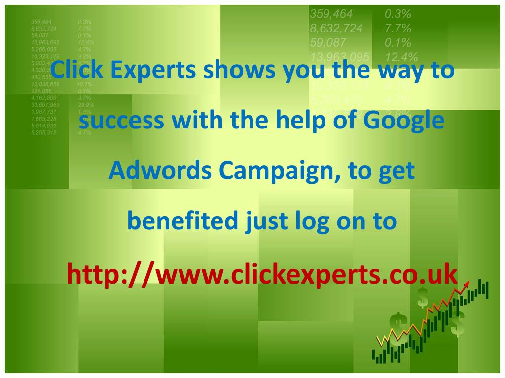 Click Experts shows you the way to success with the help of Google Adwords Campaign, to get benefited just log on to