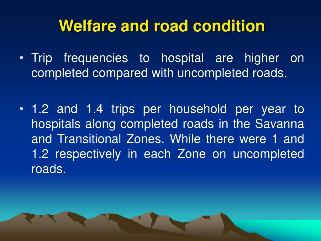 Welfare and road condition