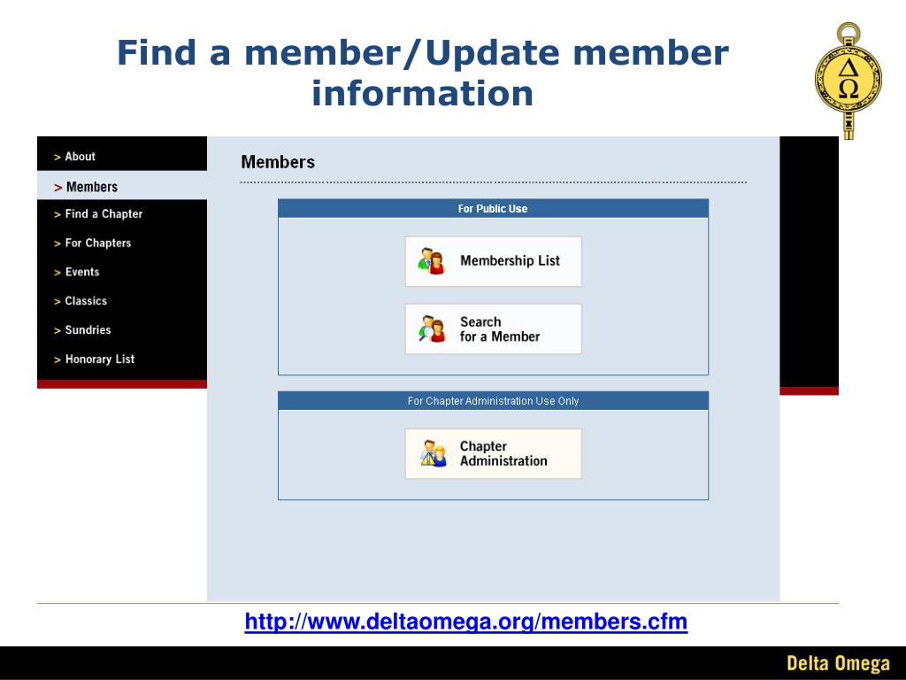 Find a member/Update member information