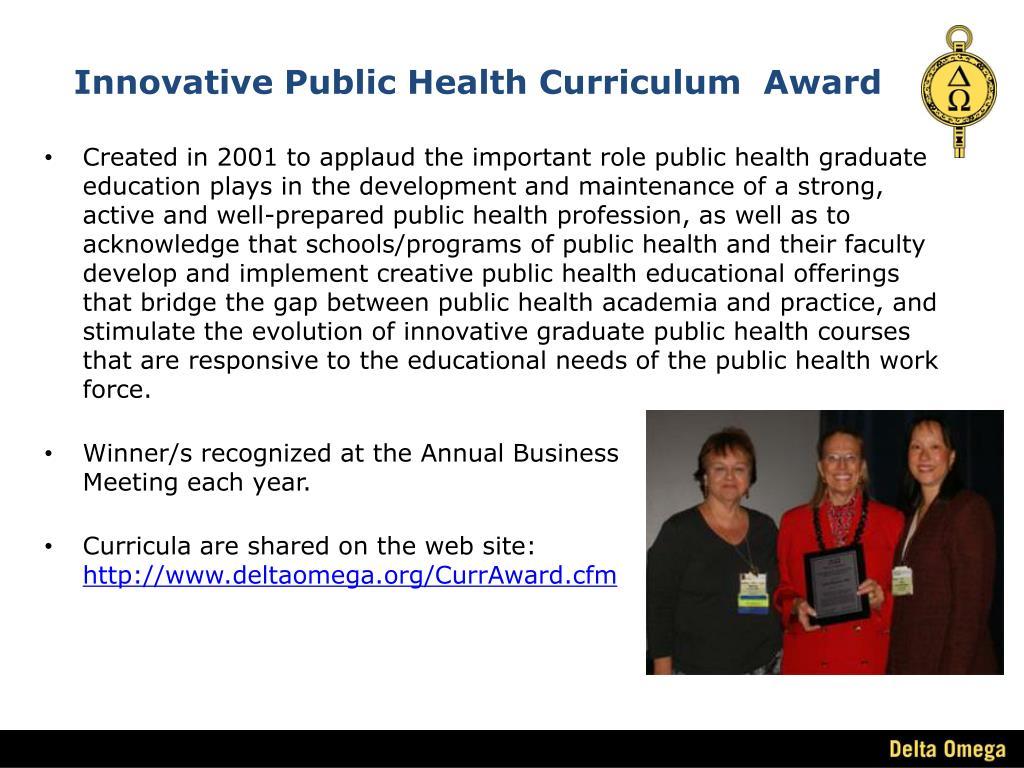 Innovative Public Health Curriculum  Award