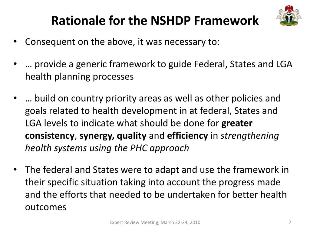 Rationale for the NSHDP Framework