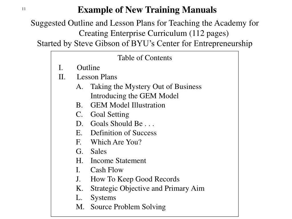 Example of New Training Manuals