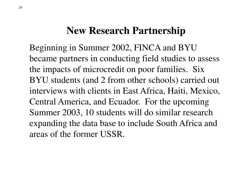 New Research Partnership