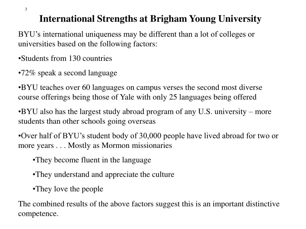 International Strengths at Brigham Young University