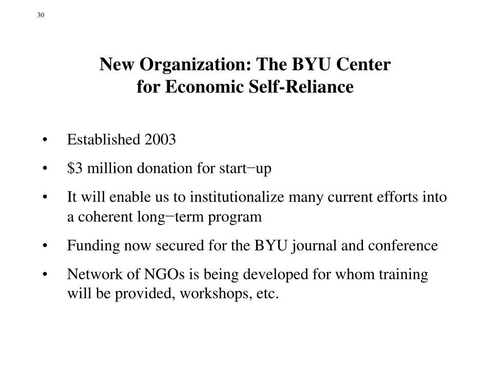 New Organization: The BYU Center