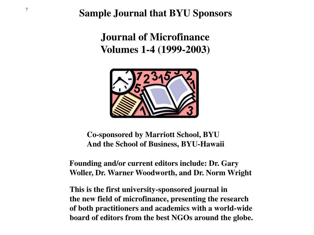Sample Journal that BYU Sponsors