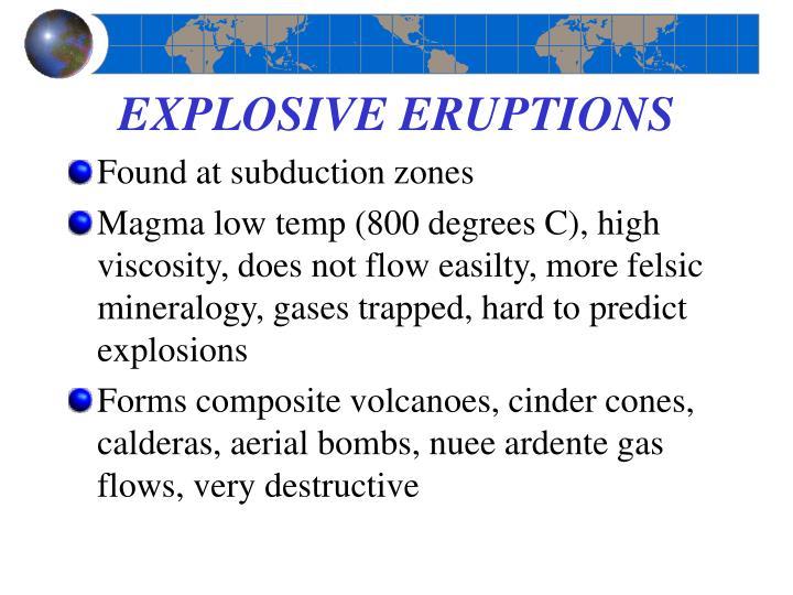 EXPLOSIVE ERUPTIONS