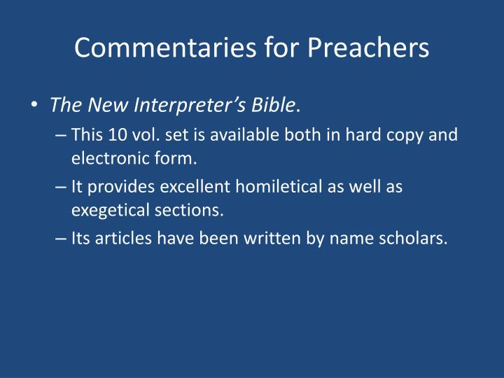 Commentaries for Preachers