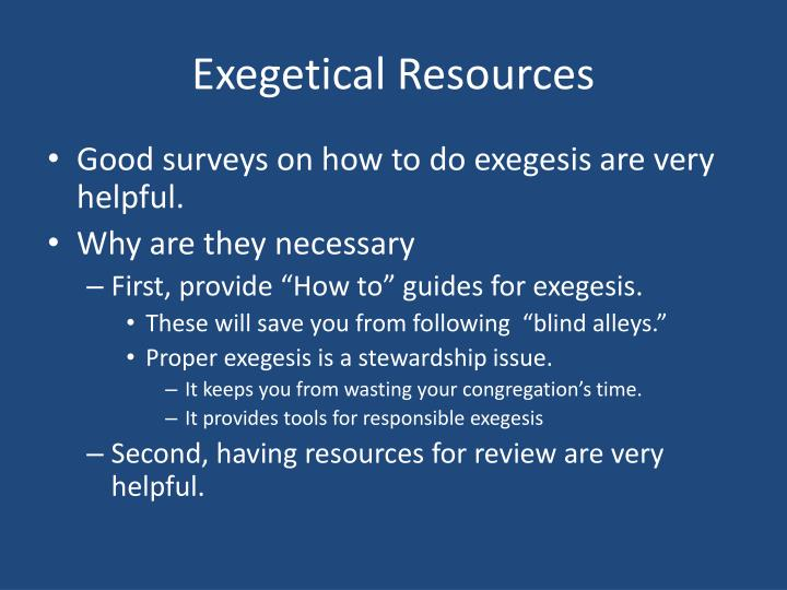 Exegetical resources