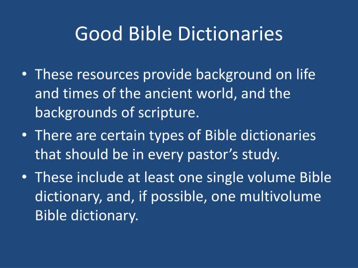 Good Bible Dictionaries