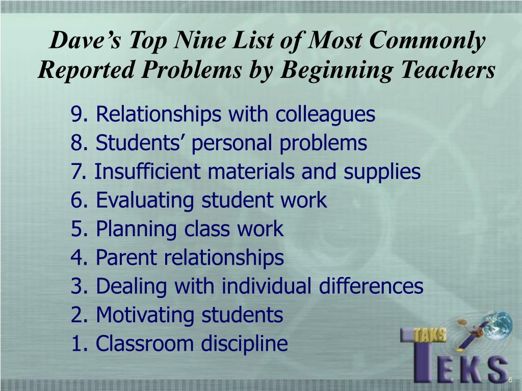 Dave's Top Nine List of Most Commonly Reported Problems by Beginning Teachers