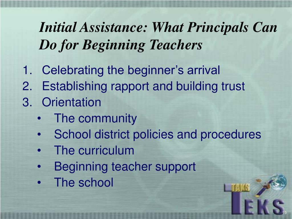Initial Assistance: What Principals Can Do for Beginning Teachers