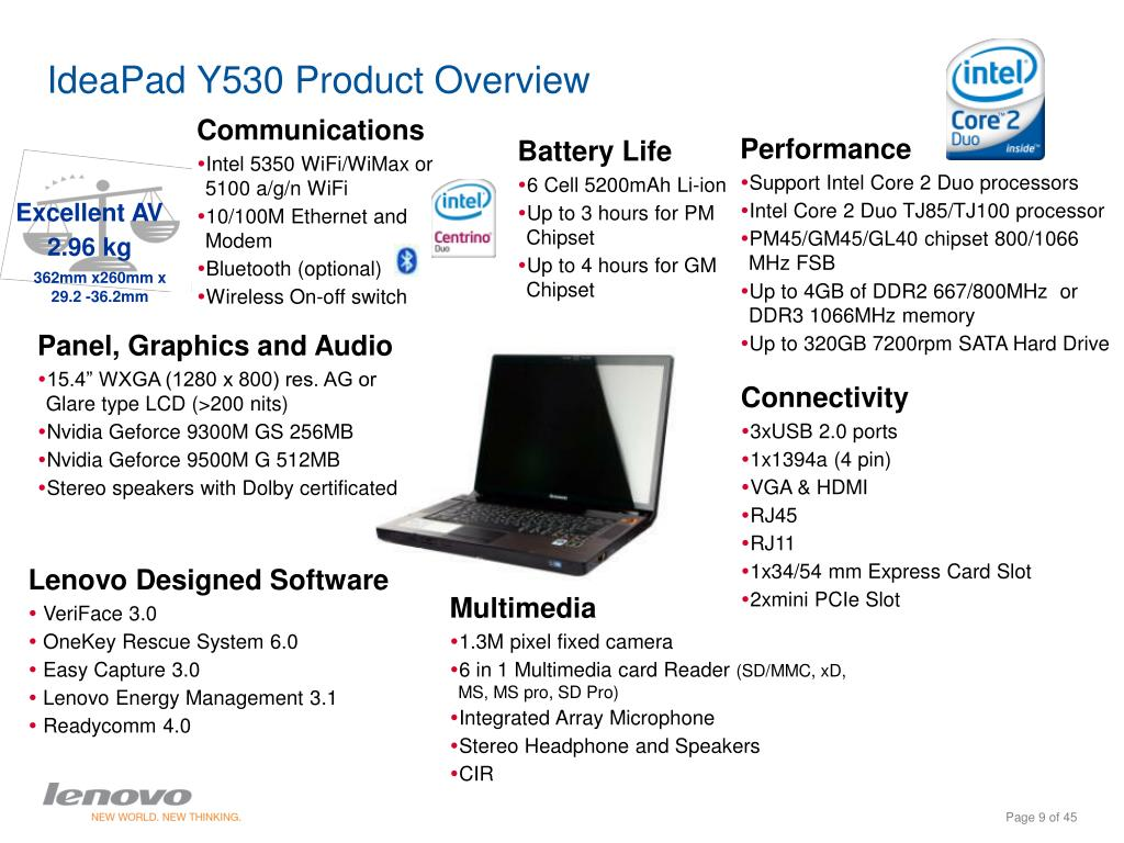 IdeaPad Y530 Product Overview