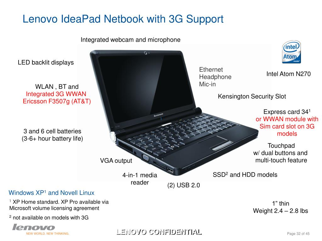 Lenovo IdeaPad Netbook with 3G Support
