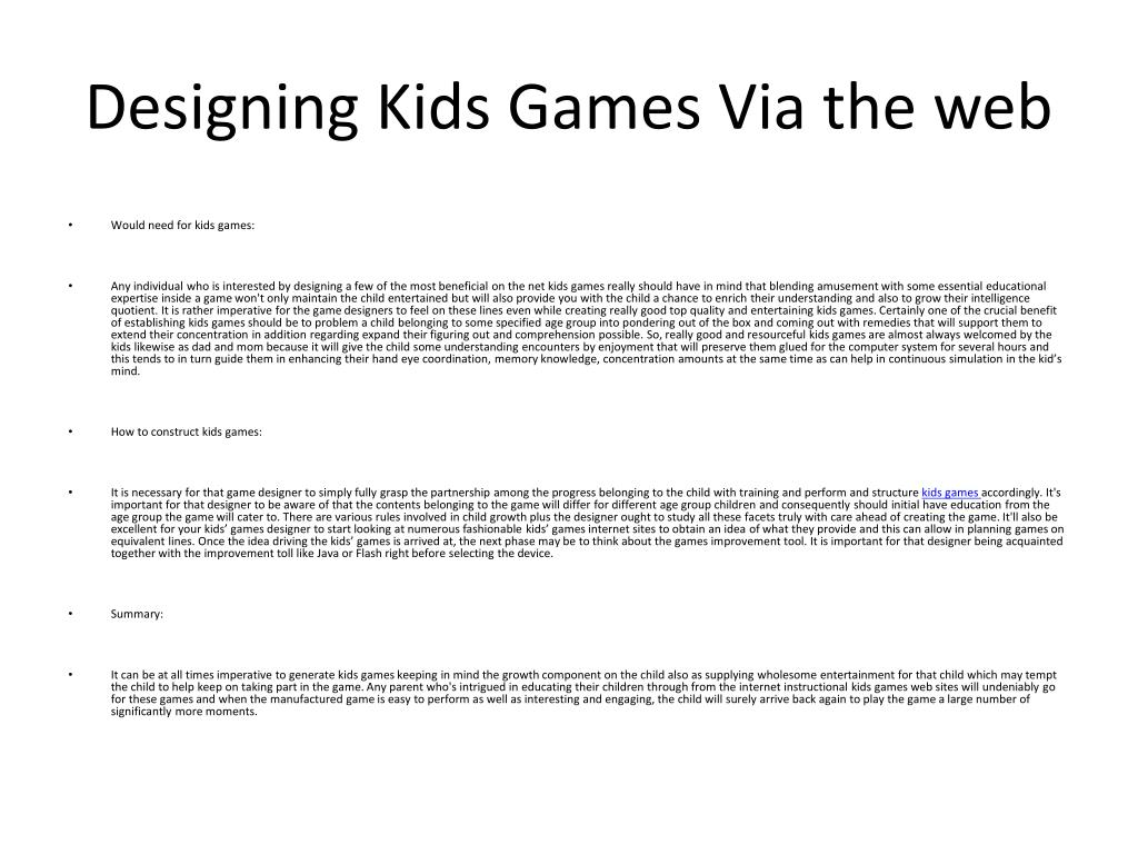 Designing Kids Games Via the web