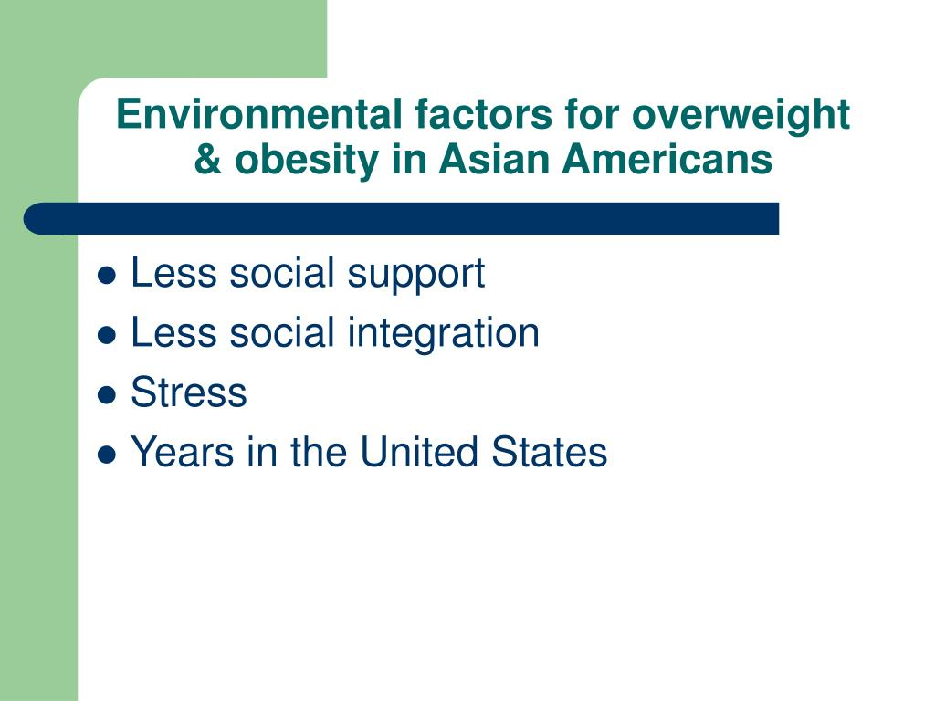 Environmental factors for overweight & obesity in Asian Americans
