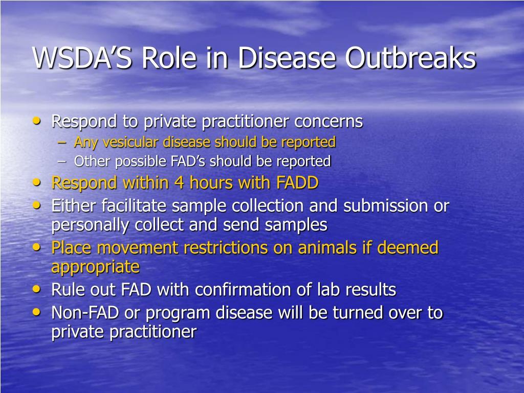 WSDA'S Role in Disease Outbreaks