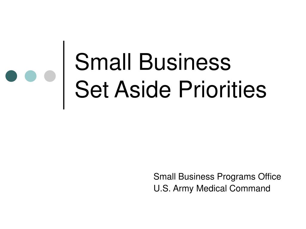 small business set aside priorities
