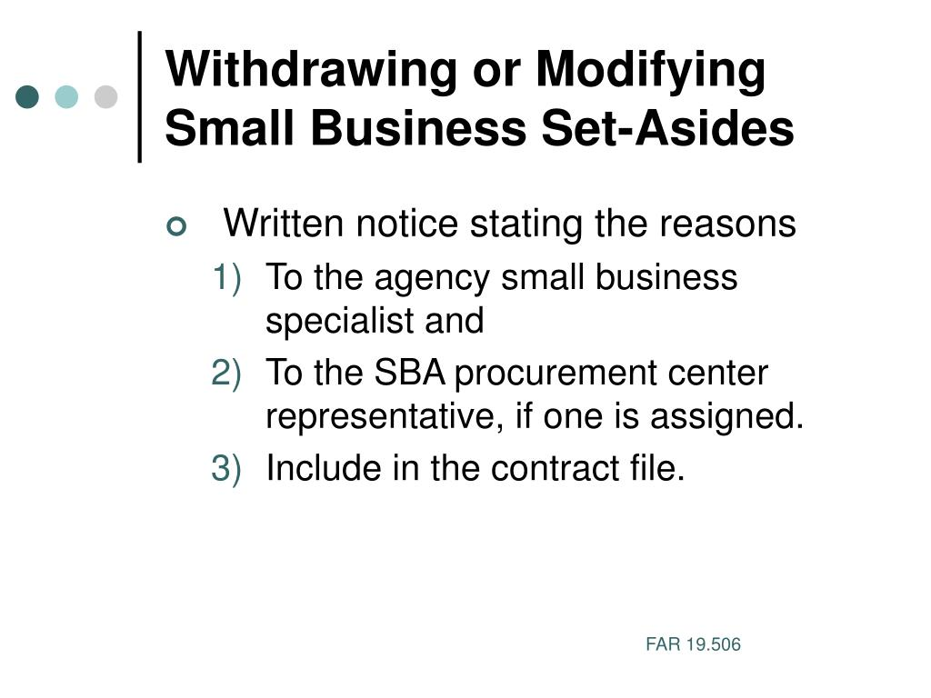 Withdrawing or Modifying Small Business Set-Asides