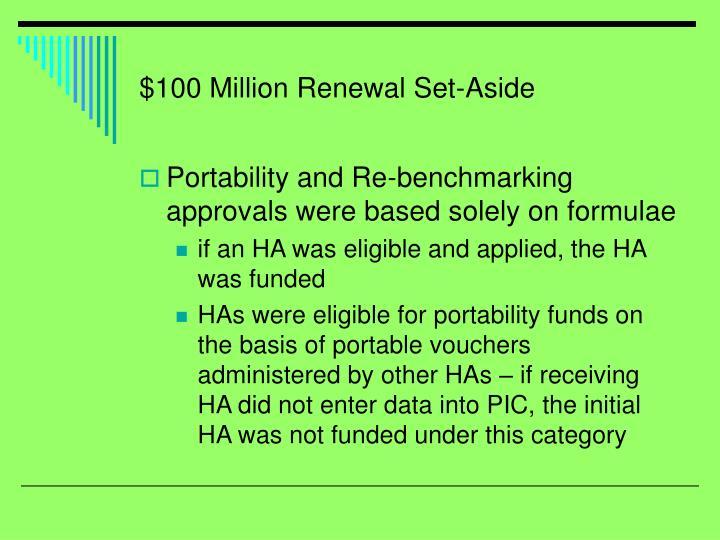 $100 Million Renewal Set-Aside