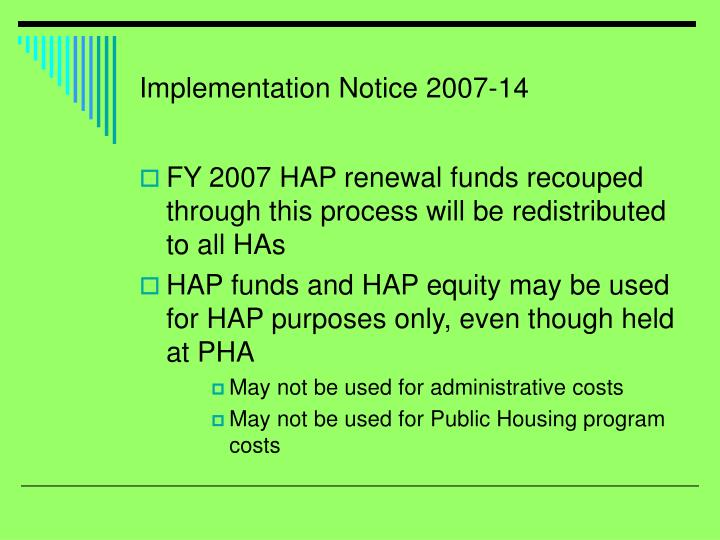 Implementation Notice 2007-14