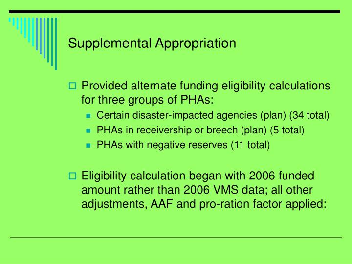 Supplemental Appropriation