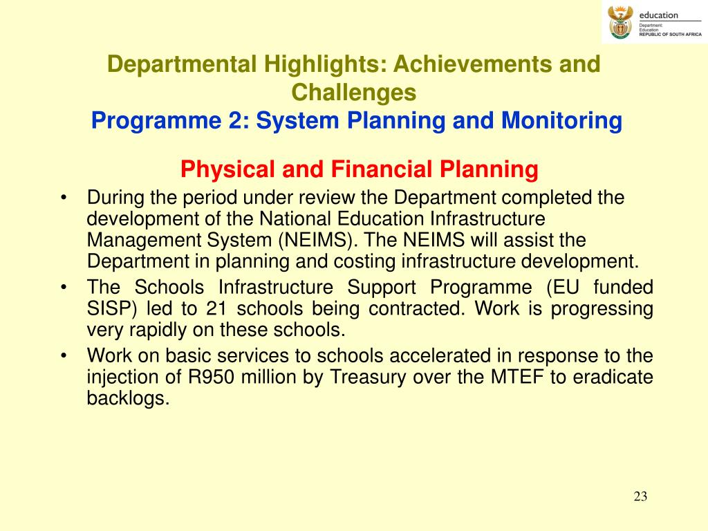 Departmental Highlights: Achievements and Challenges