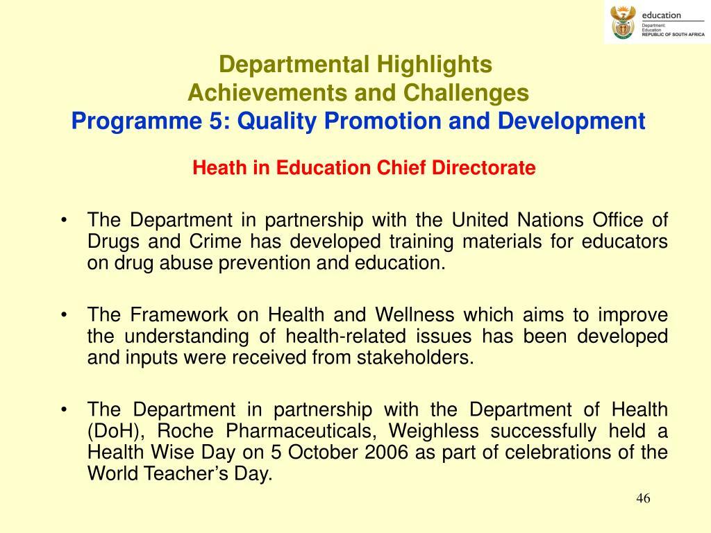 Departmental Highlights