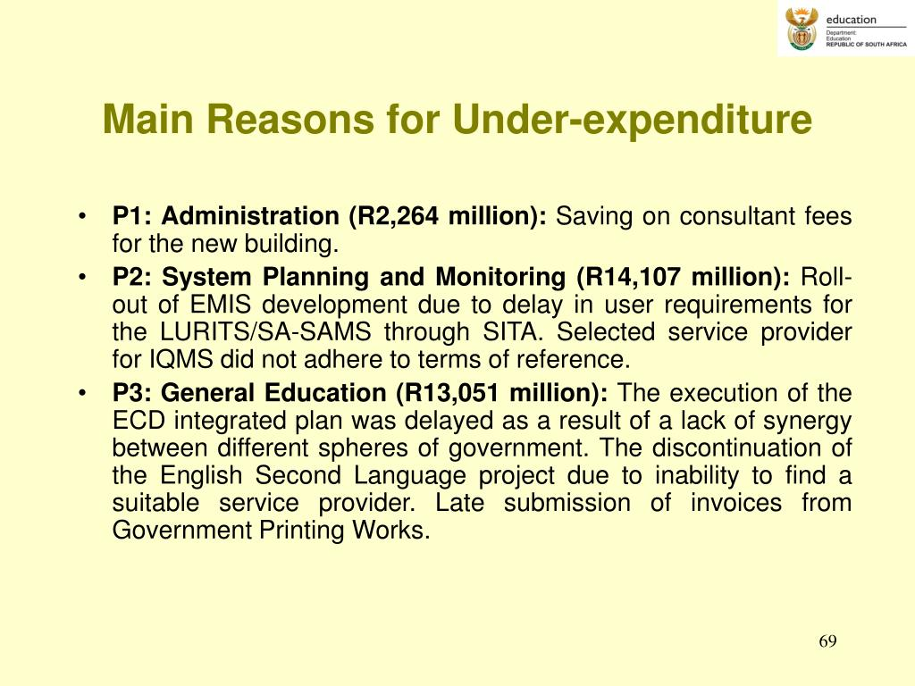 Main Reasons for Under-expenditure