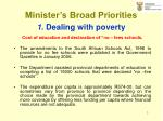 minister s broad priorities 1 dealing with poverty