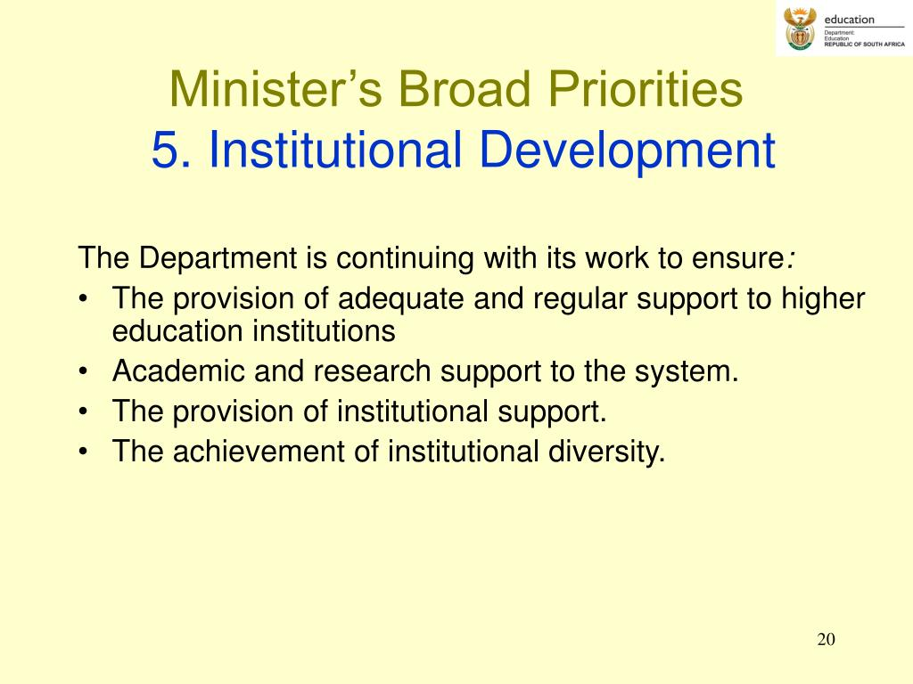 Minister's Broad Priorities