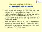 minister s broad priorities summary of achievements6