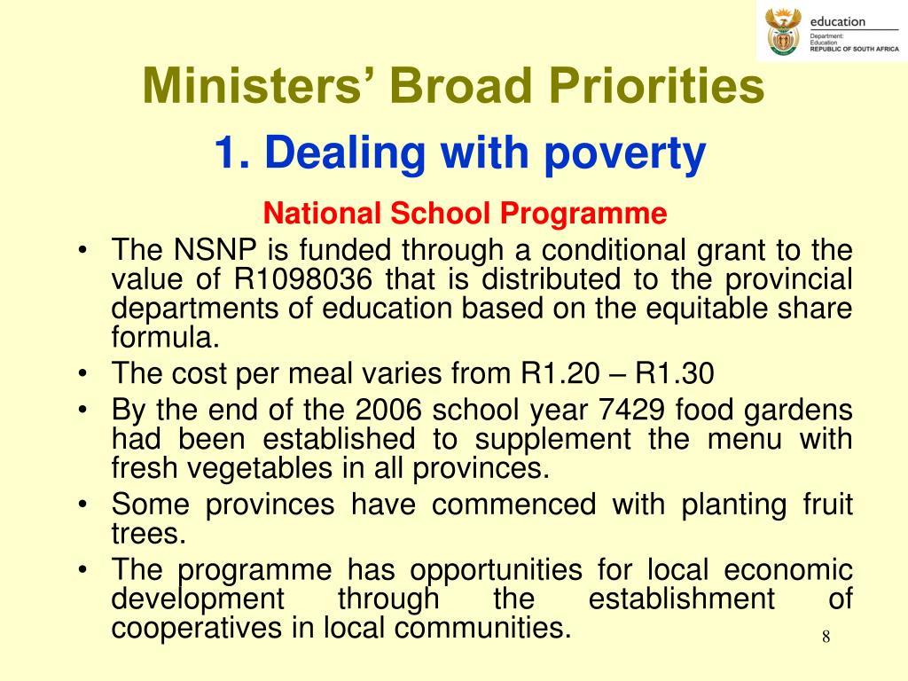 Ministers' Broad Priorities