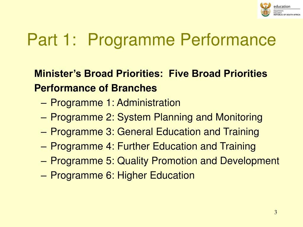 Part 1:Programme Performance