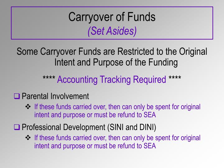 Carryover of Funds