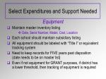 select expenditures and support needed3