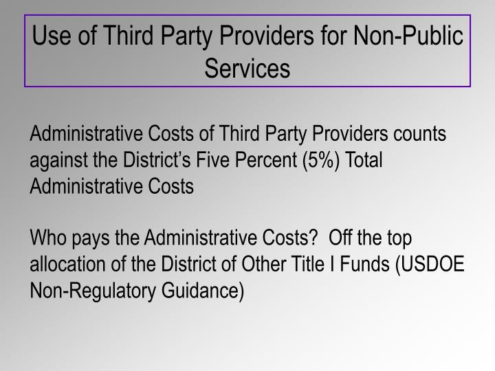 Use of Third Party Providers for Non-Public Services