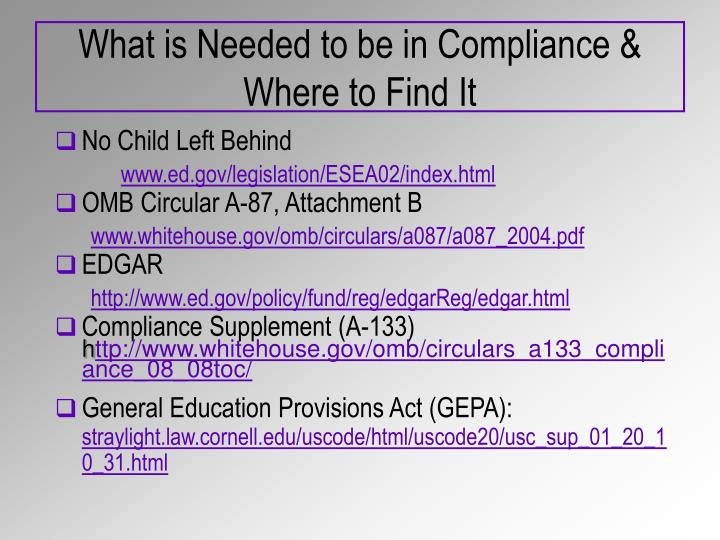 What is needed to be in compliance where to find it