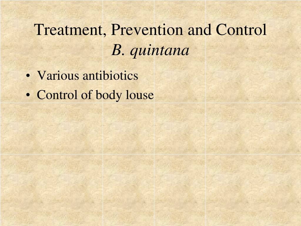 Treatment, Prevention and Control