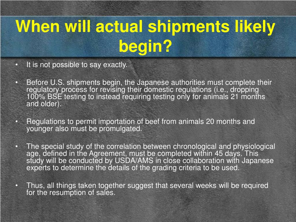 When will actual shipments likely begin?