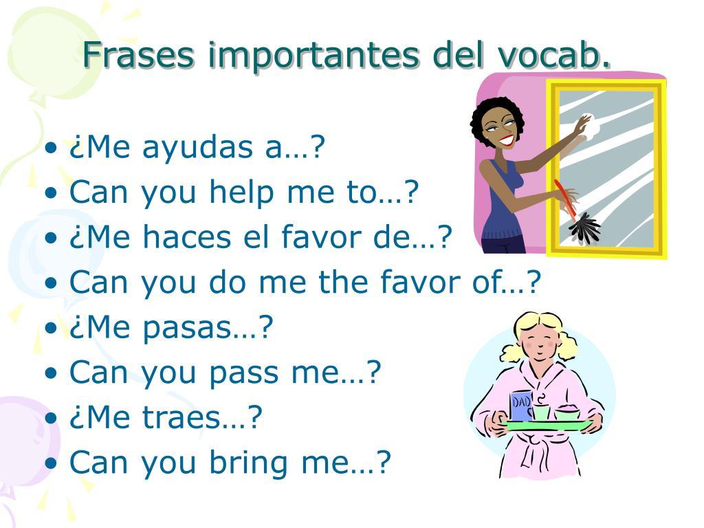 Frases importantes del vocab.