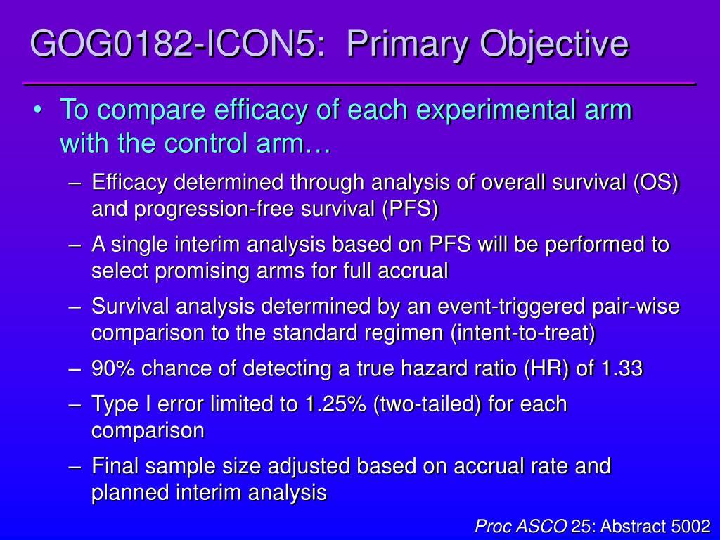 GOG0182-ICON5:  Primary Objective