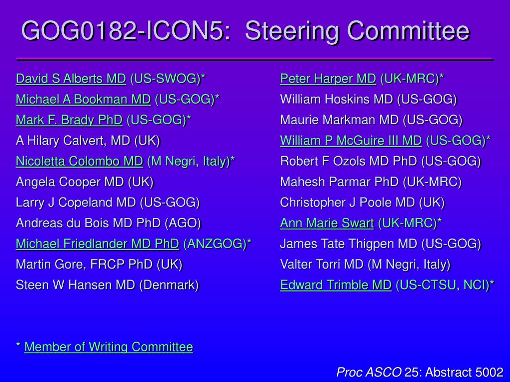 GOG0182-ICON5:  Steering Committee