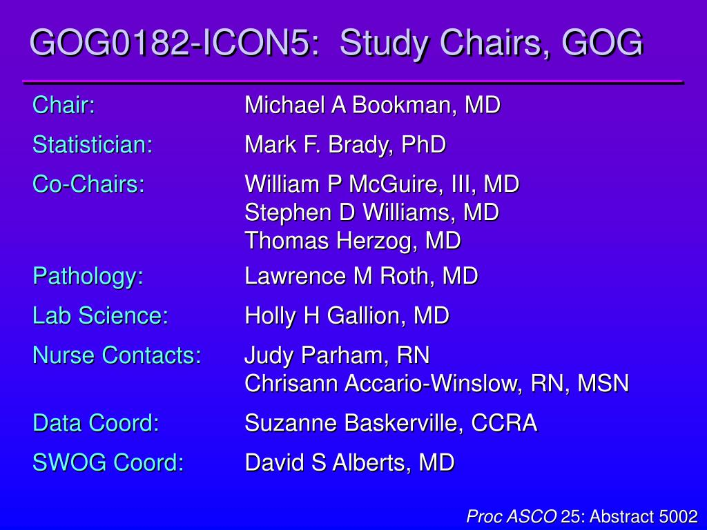 GOG0182-ICON5:  Study Chairs, GOG
